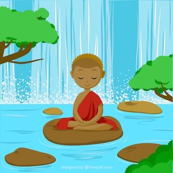 Meditierendes konzept mit ethnischer art