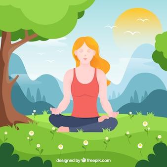 Meditierendes konzept mit flachem design