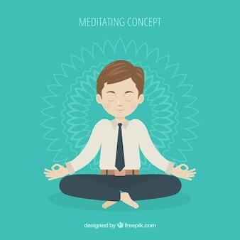 Meditierendes konzept mit flachem geschäftsmann