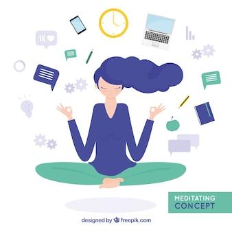 Meditierendes konzept mit geschäftsfrau