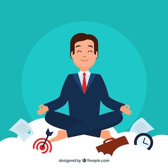 Meditierendes konzept mit geschäftsmann