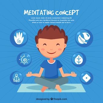 Meditierendes konzept mit hand gezeichnetem mann