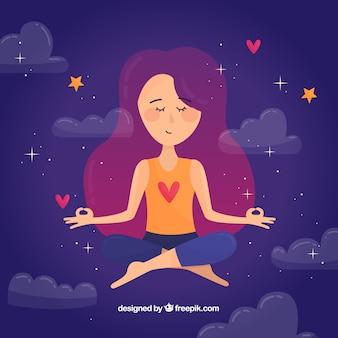 Meditierendes konzept mit hand gezeichneter frau