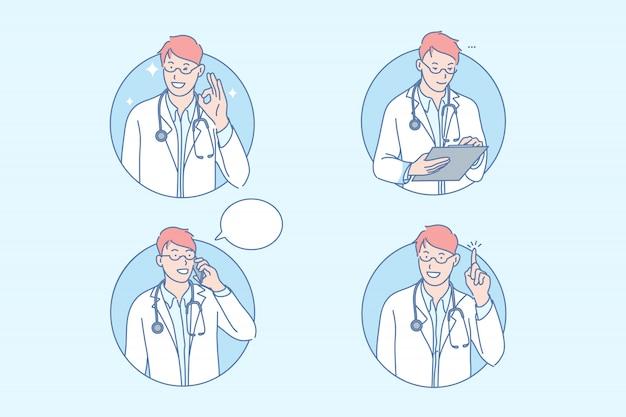 Medizin, arzt, gesundheitswesen, therapie, set