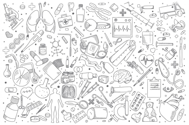 Medizin-doodle-set