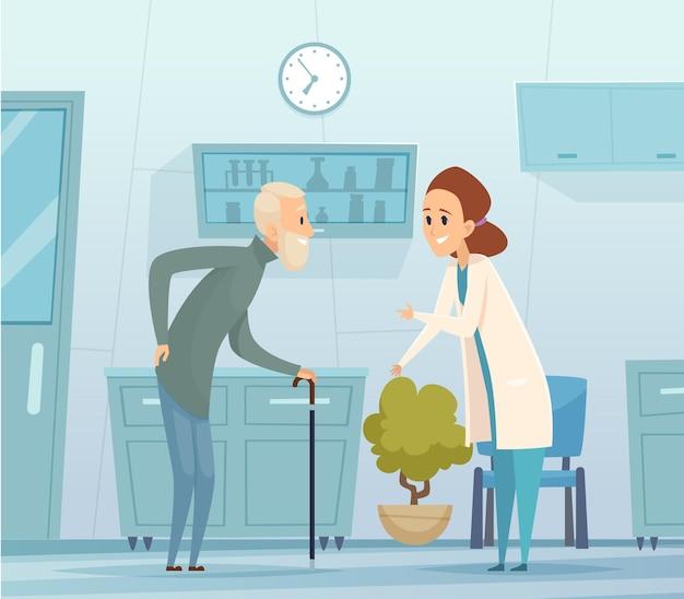Medizin für ältere menschen. geriatrie, alter mann und arzt. krankenhausbesuch, medizinische einrichtung und krankenschwester mit patientenvektorillustration