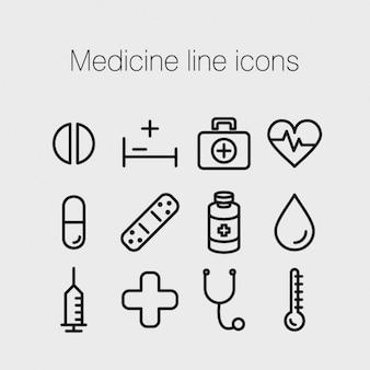 Medizin linie ikonen
