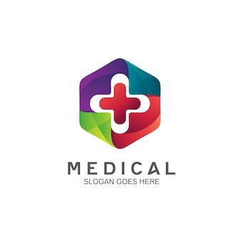 Medizin mit plus-symbol-logo-design
