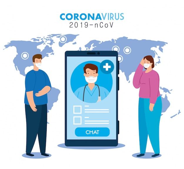 Medizin online, arzt konsultiert die patienten in smartphone online, covid 19 pandemie illustration design