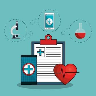 Medizin online flache symbole