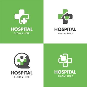 Medizin- und gesundheitslogo flache symbolvektordesign-illustrationsschablone in der kreuzform eingestellt
