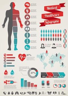 Medizin- und gesundheitssymbole und dateninfografik