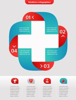 Medizin und gesundheitswesen ikone und hintergrund, infografik