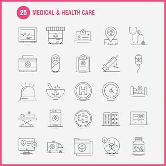 Medizin und gesundheitswesen liniensymbol