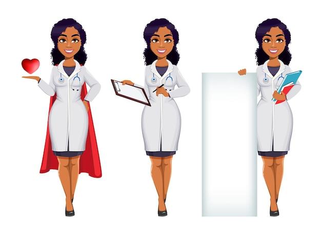Medizin- und pandemiekonzept afroamerikaner-ärztin, die weißen kittel mit stethoskop trägt