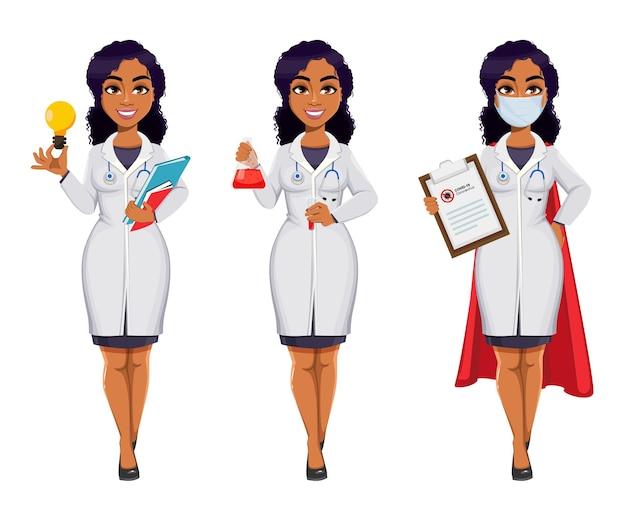 Medizin- und pandemiekonzept. afroamerikanische ärztin mit weißem kittel