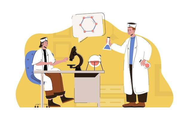 Medizin- und wissenschaftskonzeptarzt und laborassistent, der im labor forscht