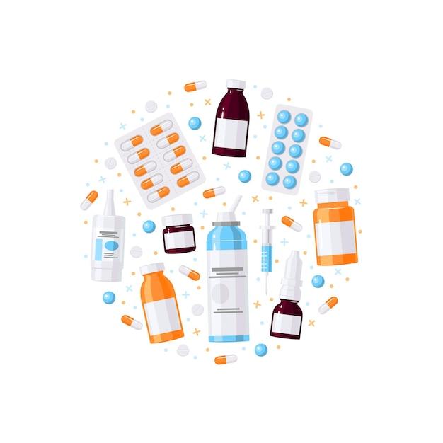 Medizinartikel in runder form in flacher illustration