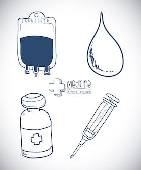 Medizindesign über grauer hintergrundvektorillustration