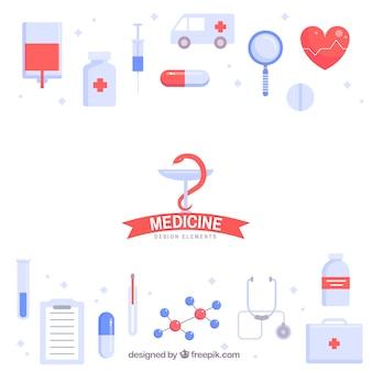 Medizinelementhintergrund in der flachen art
