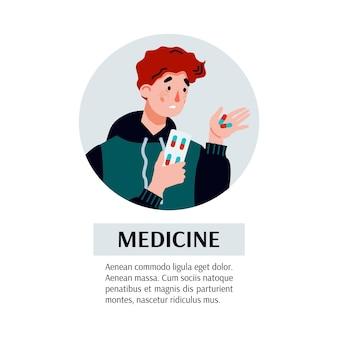 Medizinfahne mit krankem mann, der pillenkarikaturvektorillustration lokalisiert nimmt