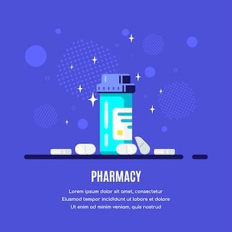 Medizinflasche und pillen auf blauem hintergrund. medikamenten-, pharmakonzept. flache artillustration.