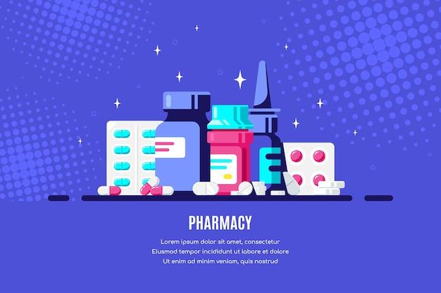 Medizinflaschen und -pillen auf blauem hintergrund. medikamenten-, pharmakonzept. flache artillustration.