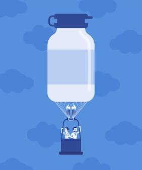 Medizinflaschenform heißluftballon mit ärzten. entdeckung der pharmakologie-arzneimittelproduktionsindustrie, symbol für die entwicklung von kaufhäusern, pillen, die ein profitables geschäft herstellen. vektor-illustration