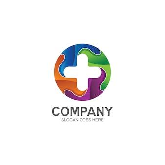 Medizinisch mit logo im puzzle-form-stil