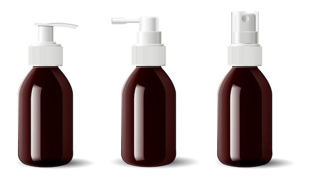 Medizinische aerosolbehälter aus braunglas, pumpe