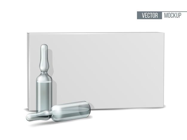 Medizinische ampullen aus transparentem glas in weißer verpackung. realistisches 3d-modell der ampulle mit medikament zur injektion. leere vorlage des fläschchens. vektor-illustration
