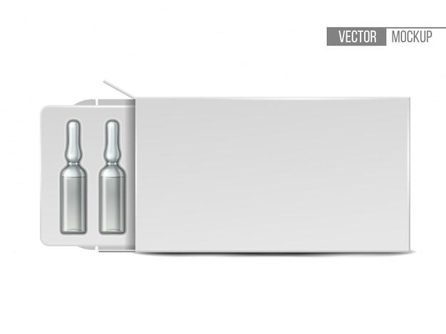 Medizinische ampullen aus transparentem glas in weißer verpackung. realistisches modell einer ampulle mit einem medikament zur injektion. leere schablone der durchstechflasche.