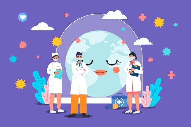 Medizinische arbeiter, die die erde schützen Premium Vektoren