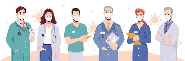 Medizinische arbeiter, die schützende gesichtsmasken tragen, kämpfen dagegen. menschen, die im krankenhaus arbeiten