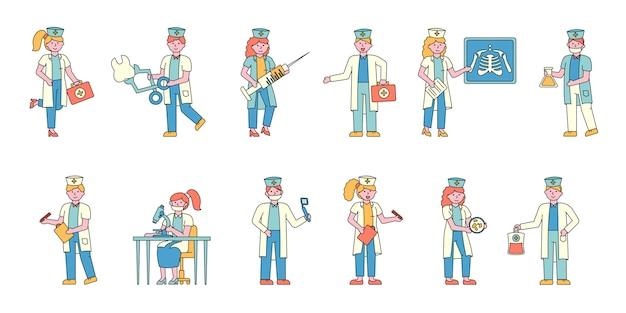 Medizinische arbeiter flache ladegeräte festgelegt. menschen in weißen uniformmänteln.
