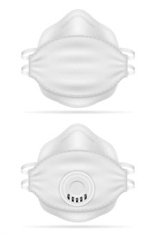 Medizinische atemmaske zum schutz vor krankheiten und infektionen, die durch tröpfchenvektorillustration in der luft übertragen werden