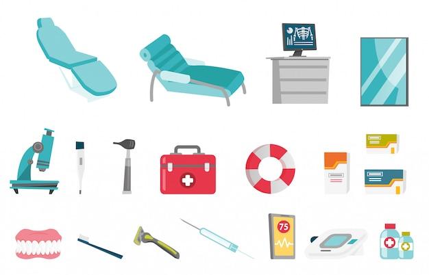 Medizinische ausrüstung cartoon-set