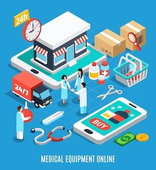 Medizinische ausrüstung isometrisch