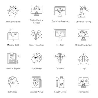 Medizinische ausrüstung linie icons pack