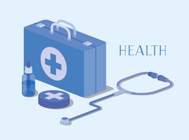 Medizinische ausrüstungsmedizin mit stethoskop
