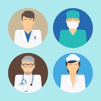 Medizinische avatare. arzt- und krankenschwestersymbole