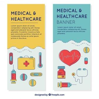 Medizinische banner mit hand gezeichnet zubehör