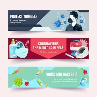 Medizinische bannervorlagen mit aquarellart