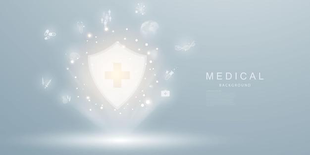 Medizinische behandlung im abstrakten technologiekommunikationsvektorhintergrund des innovationskonzepts