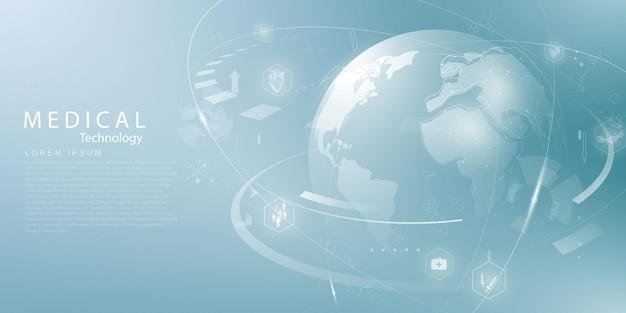 Medizinische behandlung im vektorhintergrund des abstrakten technologiekommunikationskonzeptes des innovationskonzepts