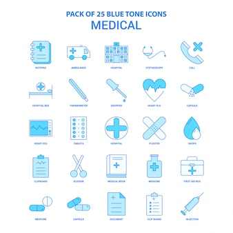 Medizinische blue tone icon pack