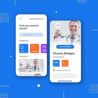 Medizinische buchungs-app mit arzt