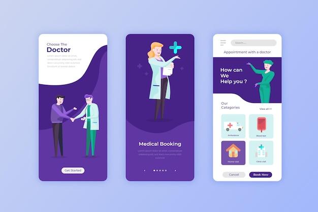 Medizinische buchungs-app mit virtuellem arzt und kunden