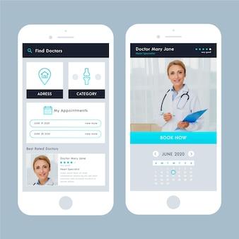 Medizinische buchungs-app-schnittstelle mit foto