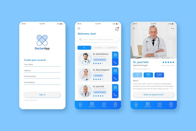 Medizinische buchungs-app-vorlage mit foto